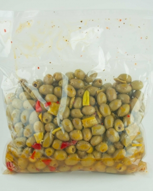 Green olives pitted with peppers